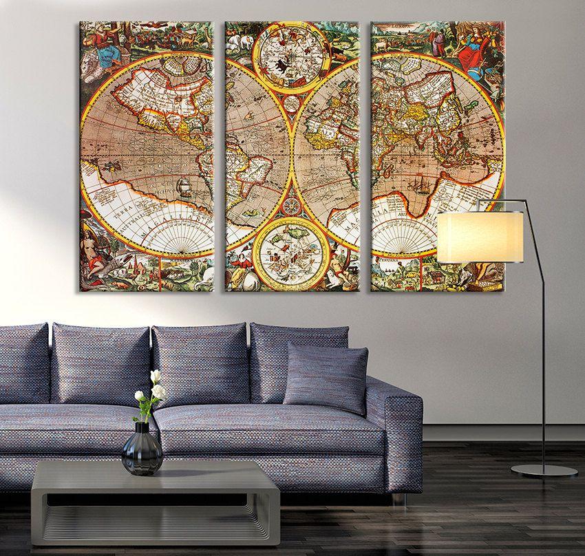 Large wall art vintage antique world map art canvas print large large wall art vintage antique world map art canvas print large world map wall gumiabroncs Images