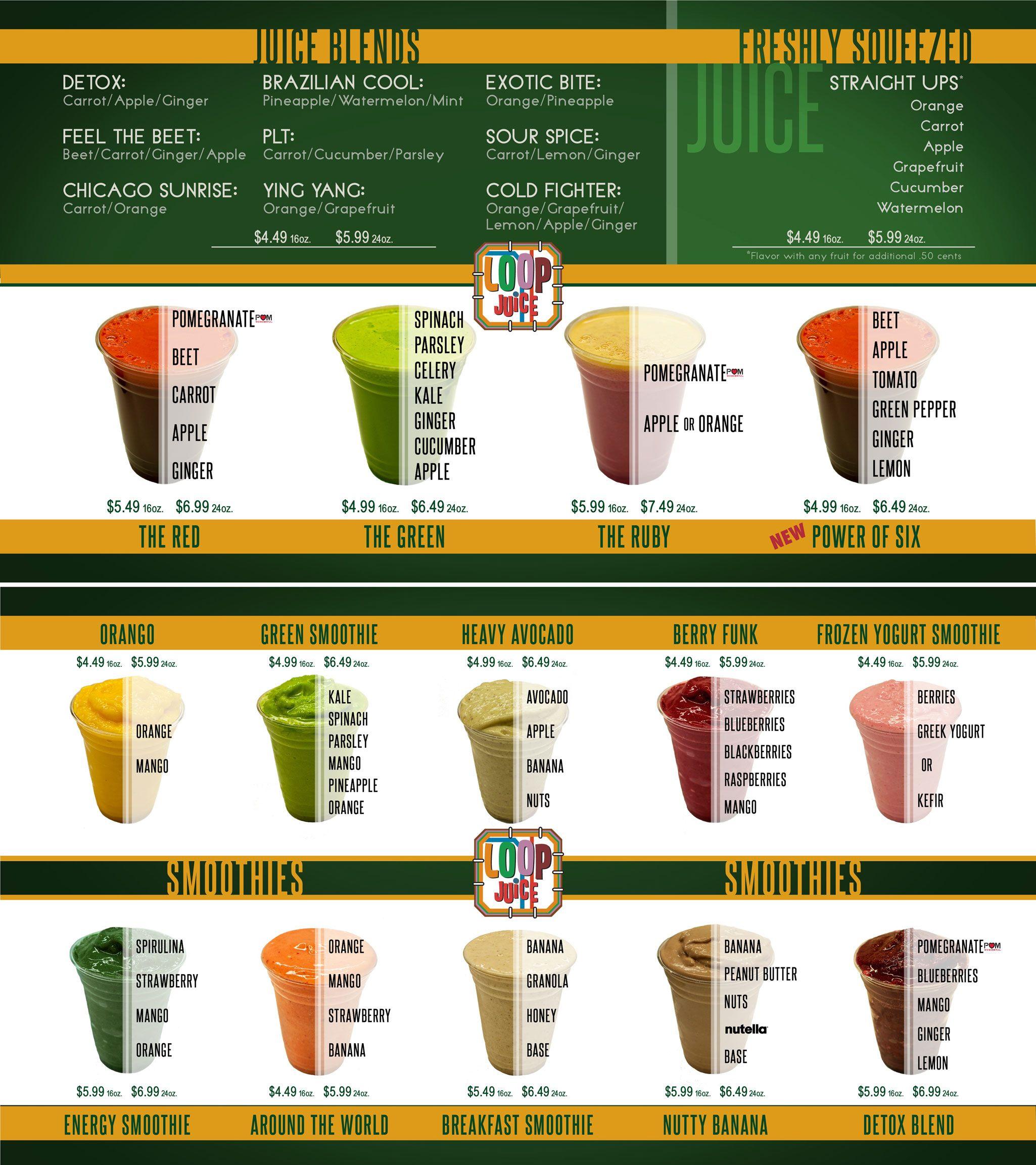 The Loop Juice Menu In Chicago The Green Juice Menu Juice Bar Menu Juice Bar Design