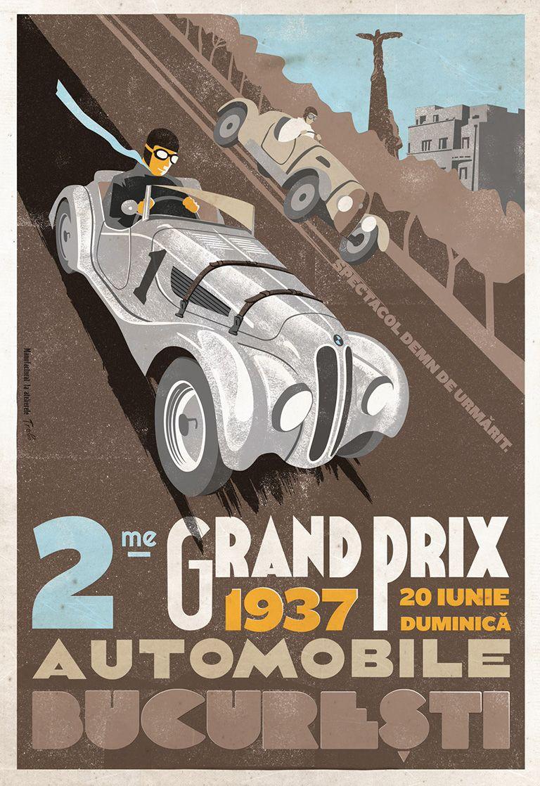 Grand prix automobile bucuresti ernst henne bmw 328 1937 romanian vintage poster