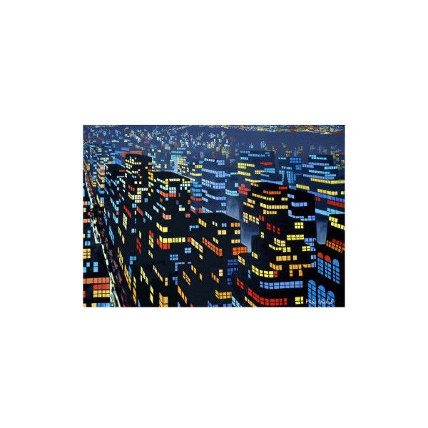 City Lights 6 Canvas Wall Art Print - Stretched Canvas (1.090 NOK) ❤ liked on Polyvore featuring home, home decor, wall art, canvas posters, wall posters, canvas home decor, wall coverings and stretched canvas