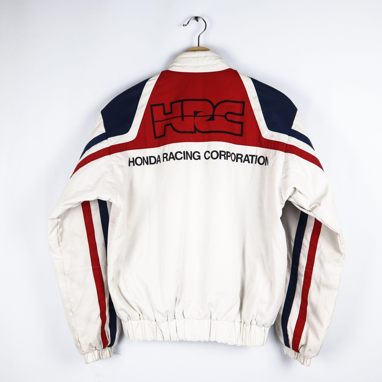 Rare Vintage 80s Honda Motorcycle Racing Team Red White Blue Puffy Jacket Usa Jackets Blue Motorcycle Puffy Jacket