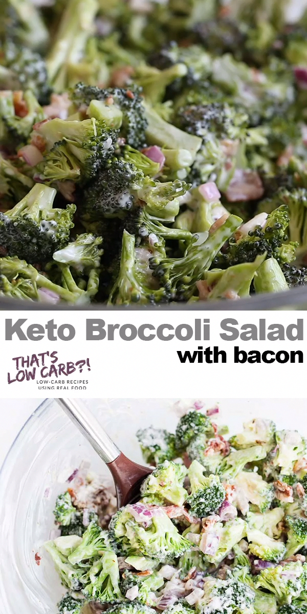 Keto Broccoli Salad with BACON! Packed full of flavor and with minimal ingredients this salad is a sure winner! Keto Broccoli Salads for lunch and dinner! Not a bad dish to make for potlucks either... if it can last till then. We devour this! #lowcarb #keto #lowcarbdiet #ketodiet #lowcarbrecipes #ketorecipes #lowcarbrecipe #ketorecipe #broccoli #saladideas #salad #healthysalad #potluck #summerrecipes #PerfectKetoDiet