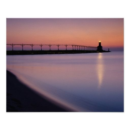Michigan City Lighthouse at Sunset  (pinned by haw-creek.com)