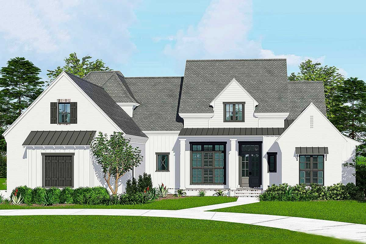 Plan 510042WDY: French Country Farmhouse Plan with Media ...