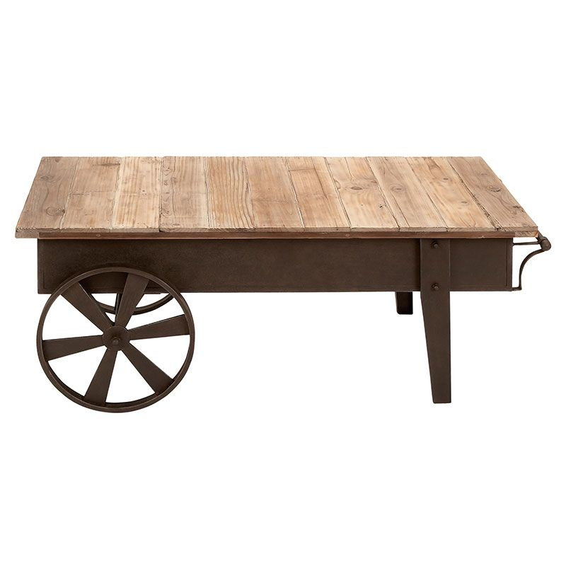 Cart Style Coffee Table With An Aged Iron Frame And Reclaimed Wood Top Product Tableconstruction Material Ironcolor Brown
