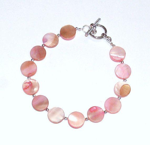 Handmade Beaded Bracelet in Coral Mother of Pearl by terririchard, $6.75