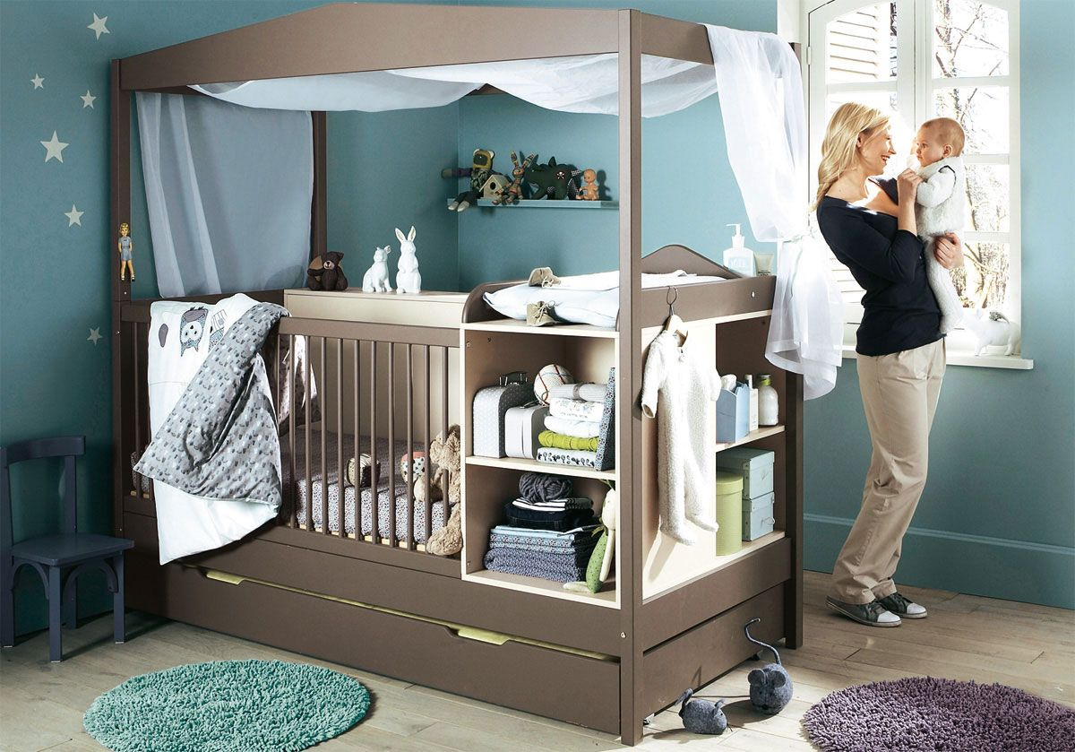 Bedroom, Attractive And Cool Baby Nursery Design Ideas : Night Sky Wall  With Chocolate Cradle