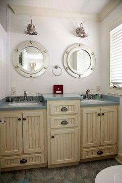Photo of Love the idea of porthole mirrors for a beach bathroom