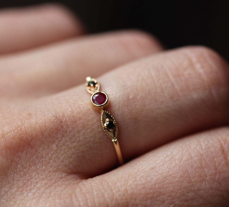 Rubin Verlobungsring, 14 K Gold Edelstein-Ring von ARPELC ...