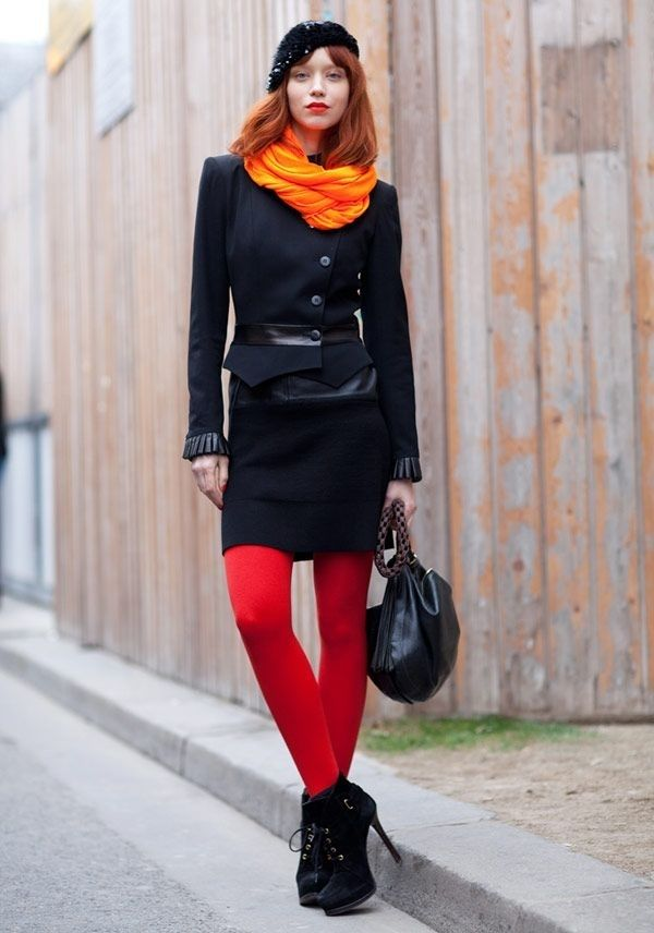 fe859558d51 Statement Color - 7 Street Style Outfits with Tights to Recreate ...