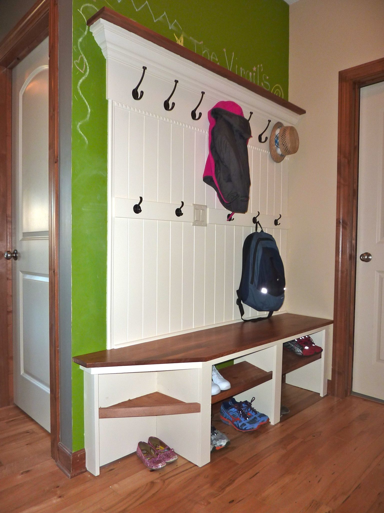 Storage ideas for hallway  Mudroom bench  friendus hubby MADE this  Remodeling Ideas