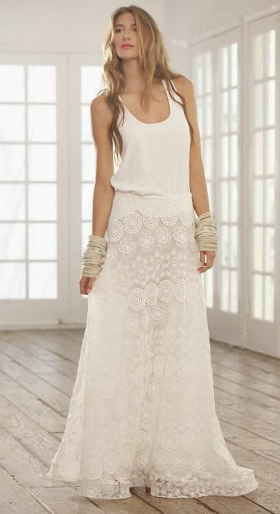 White lace maxi skirt | Clothes I'll never have... | Pinterest ...