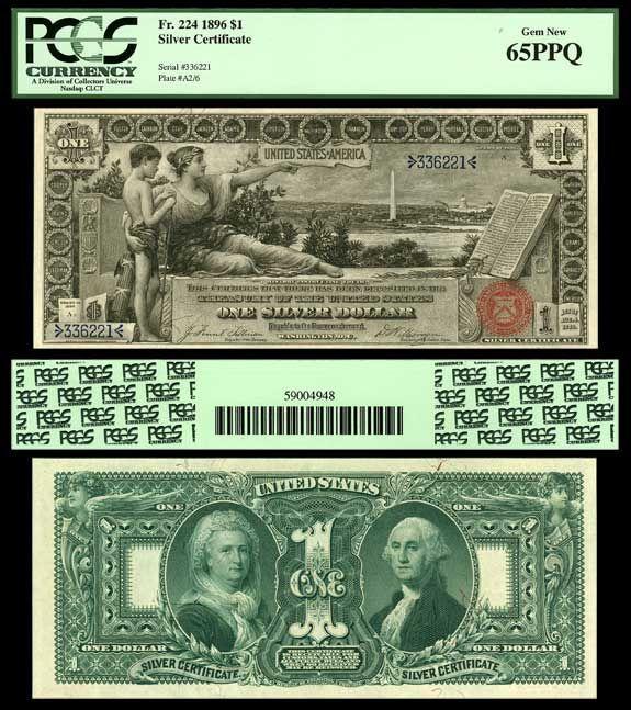 TreasuredStocks.com,  has this item on Collectors Corner - 1896 $1 Educational Silver Certificate Tilman - Morgan Fr. # 224 PCGS 65 PPQ Gem New