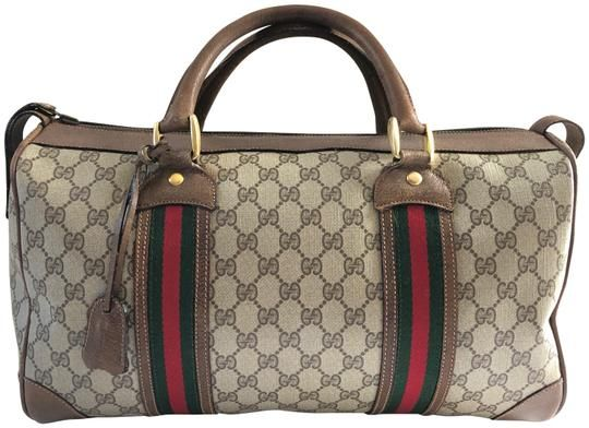 9c2d9797d32 Gucci Brown Gg Pvc Canvas   Leather Weekend Travel Bag. Save 91% on