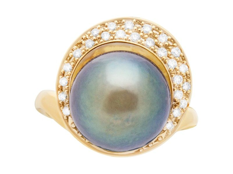 18k yellow gold black south sea cultured pearl and diamond ring