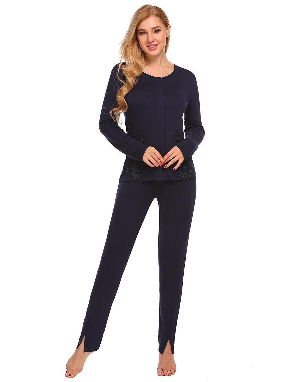 d3e03528d3 Women's Clothing, Lingerie, Sleep & Lounge, Sleep & Lounge, Sets, Women Pajamas  Set Lace-Trimmed Long Sleeve Sleepwear - Purplish Blue Navy - CI1870UKWLT  ...