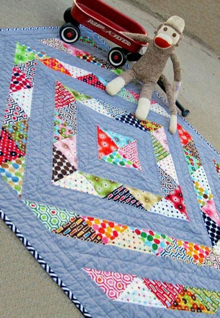 Perfect Prism Charm Friendly Baby Quilt Half Square Triangle
