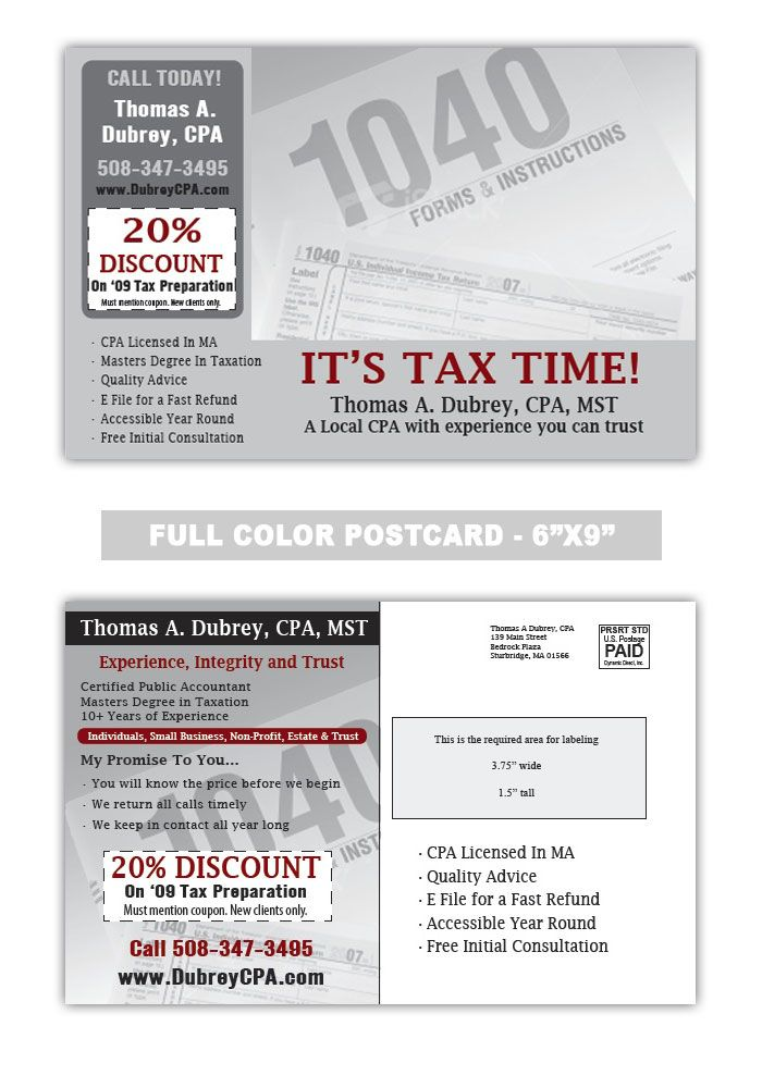 its tax Time Accounting and Tax Preparation Postcard Samples - referral coupon template