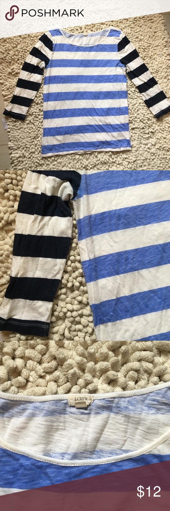 J. Crew stripe 3/4 sleeve top J. Crew stripe 3/4 sleeve top - Small J. Crew Tops Tees - Long Sleeve