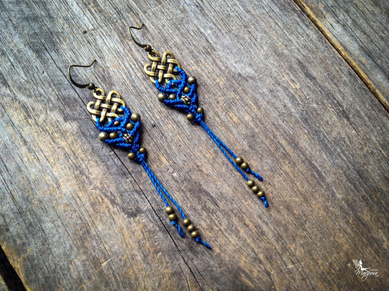 Macrame earrings endless knot - custom order antique brass - boho bohemian tibetan ethnic chic Hippy micro macrame jewelry woman by creationsmariposa on Etsy https://www.etsy.com/listing/168157859/macrame-earrings-endless-knot-custom