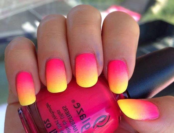 Pink Orange Yellow Ombre Nail Polish Pink Nail Designs Short Squoval Nails Pink Nail Polish Bottle In 2020 Orange Acrylic Nails Ombre Nails Nails