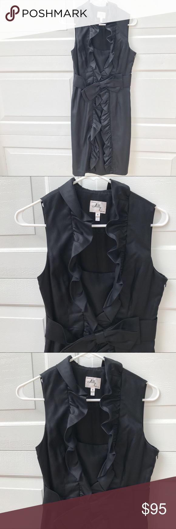 Milly black ruffle dress sleeveless lbd fab so flattering milly