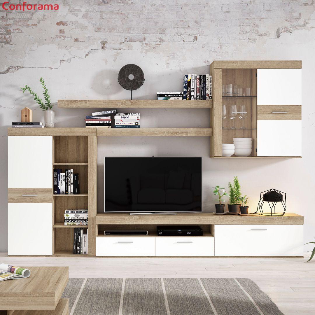 El Acabado En Roble Y Blanco De Nuestro Mueble De Salon Akron Nos Encanta Muebles Salon Blanco Diseno De Sala Comedor Decoracion De Interiores Salones