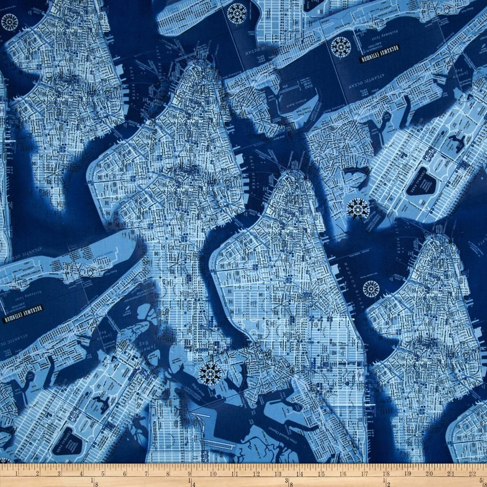 New York State Of Mind Map fabric in Blue