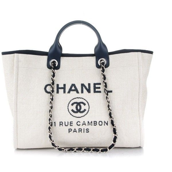 83ee8832f2bf CHANEL Canvas Large Deauville Tote White Navy ❤ liked on Polyvore featuring  bags, handbags, tote bags, tote handbags, canvas tote, handbags totes, ...