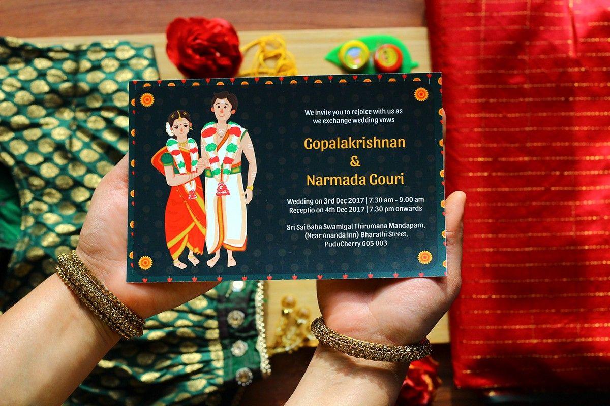 illustrated tambrahm  iyer style wedding invitation on