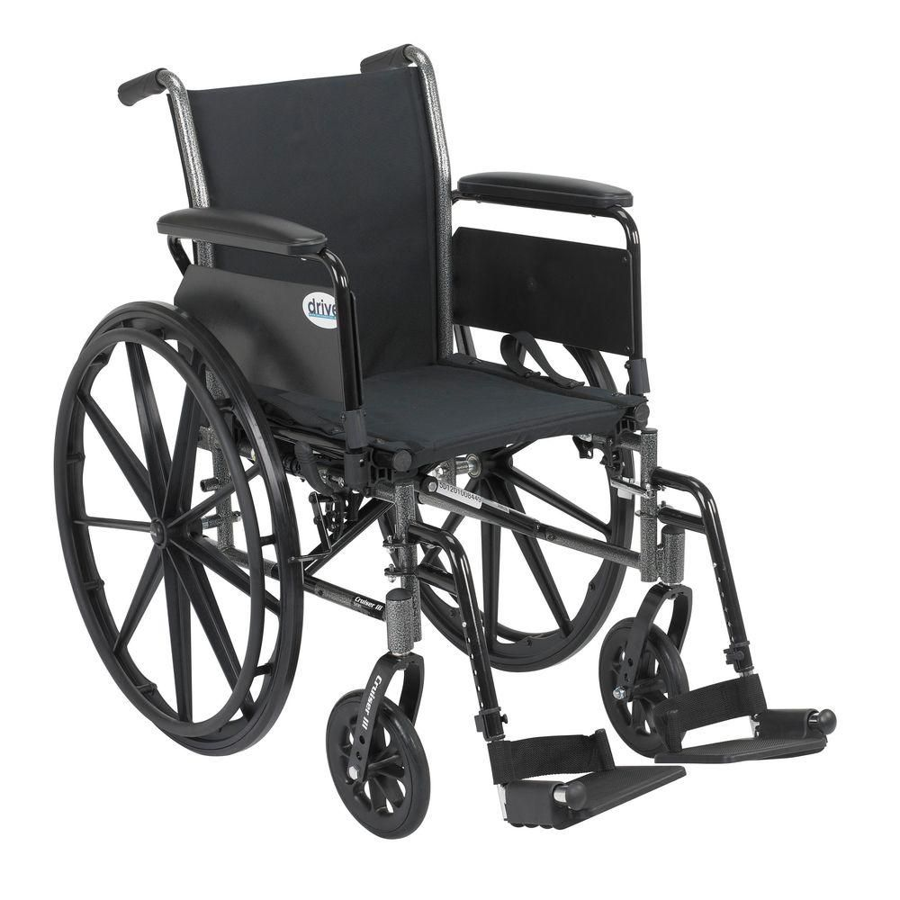Drive Cruiser Iii Wheelchair With Removable Flip Back Arms Full Arms And Swing Away Footrests Lightweight Wheelchair Adjustable Height Desk Foot Rest