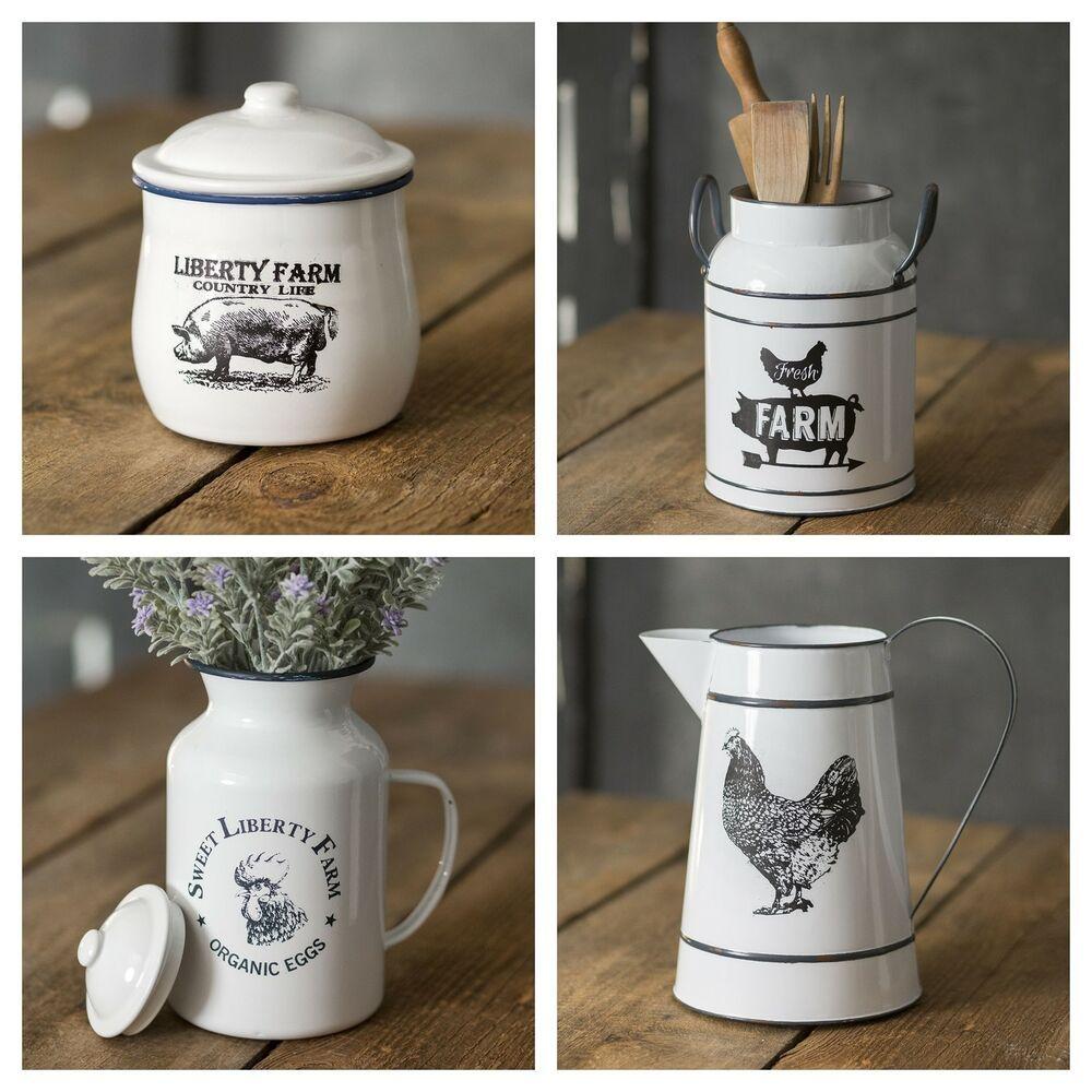 Farmhouse Kitchen Decor Canister Set Country Farm Countertop Gift
