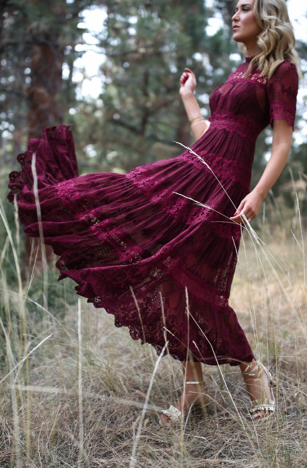Fall Wedding Style Rehearsal Dinner In Montana Burgundy Lace Midi Dress Gold Ruffle Sandals Pea Wedding Dress Suit Burgundy Midi Dress Fall Wedding Suits [ 1524 x 1000 Pixel ]