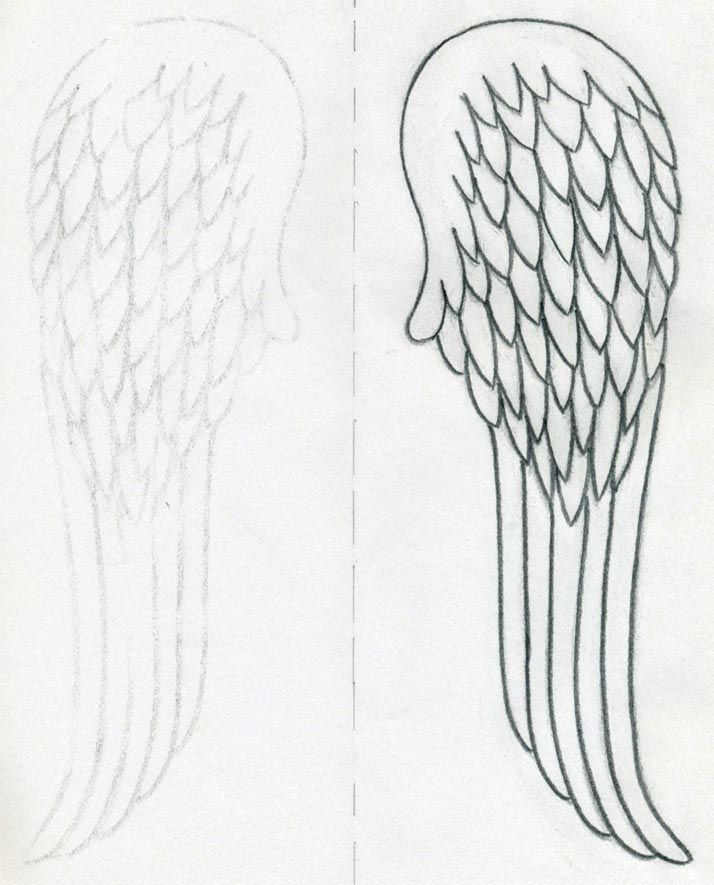 Angel wings outline how to draw angel wings quickly in few easy steps