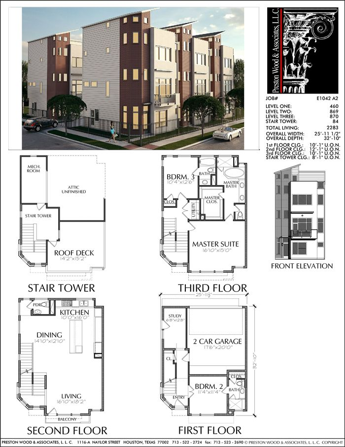 3 1 2 Story Townhouse Plan E1042 A2 Architectural Floor Plans Town House Plans Townhouse Designs