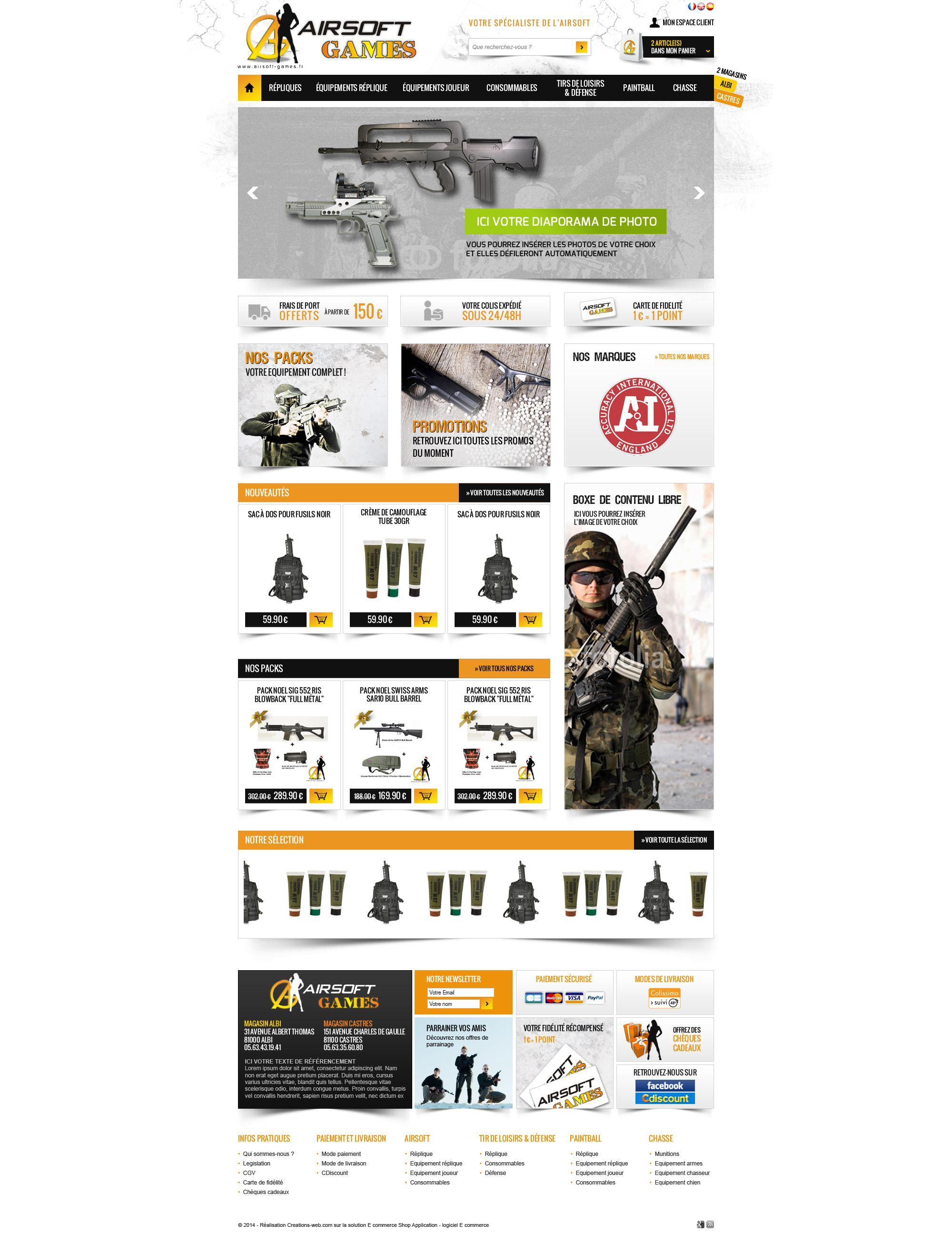 Maquette site airsoft-games.fr - creation site web pour vente produits airsoft