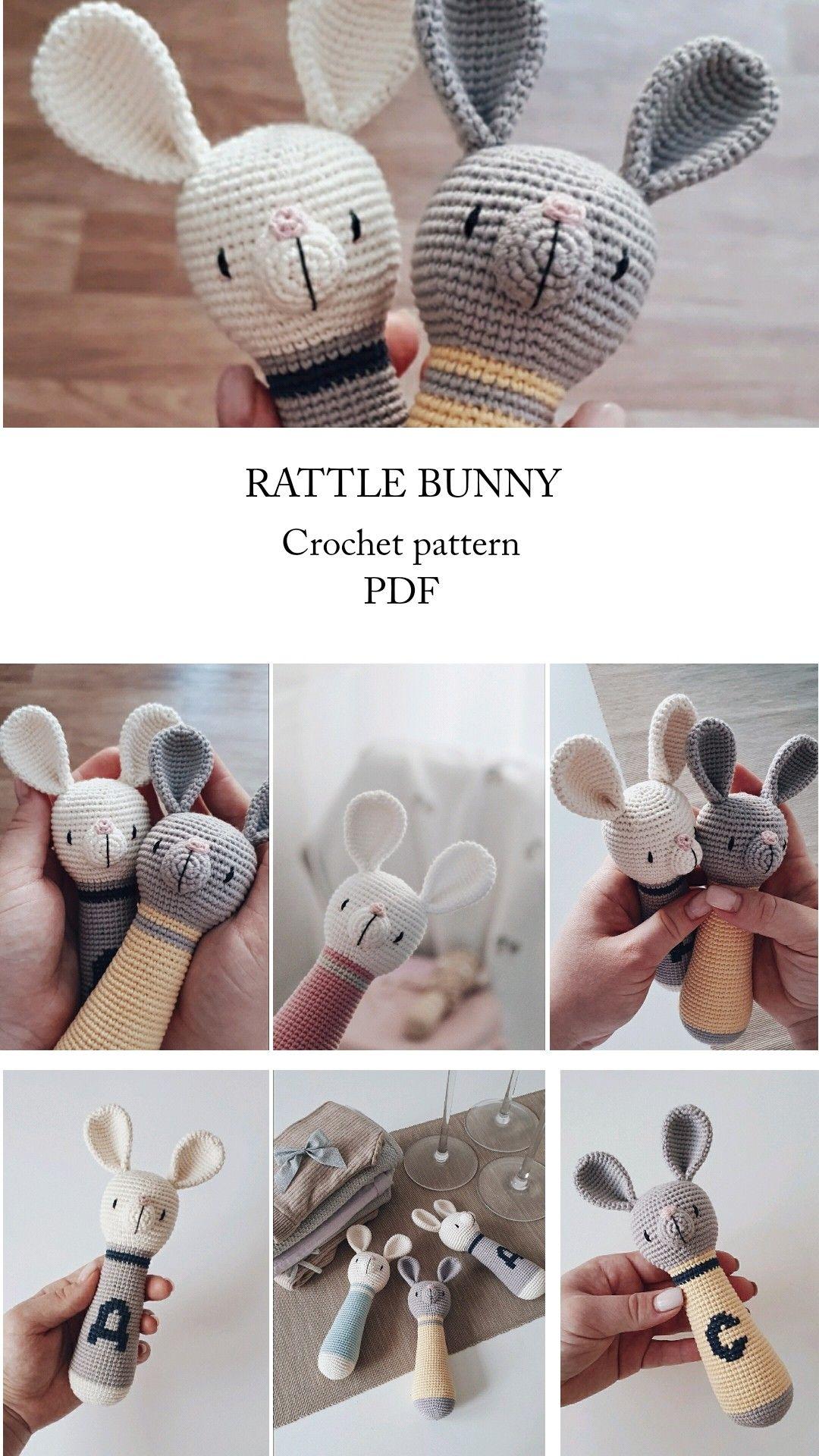 Crochet Pattern Rattle Bunny Tutorial Pdf File Amigurumi Pattern Crochet Toys Pattern Rabbit Gift For Baby Pattern Bunny Rabbit Toy In 2020 Crochet Patterns Crochet Toys Patterns Crochet Basics