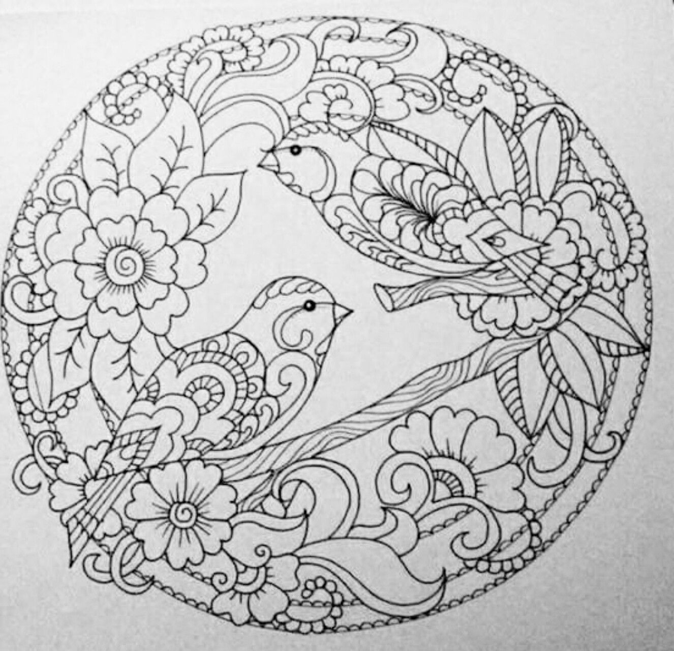 Birds In Circle Coloring Page Bird Coloring Pages Coloring Book Art Mandala Coloring Pages