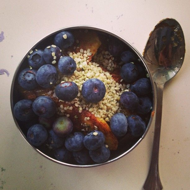 Fried plantains, blueberries and hemp seeds for an afternoon snack #hempseeds