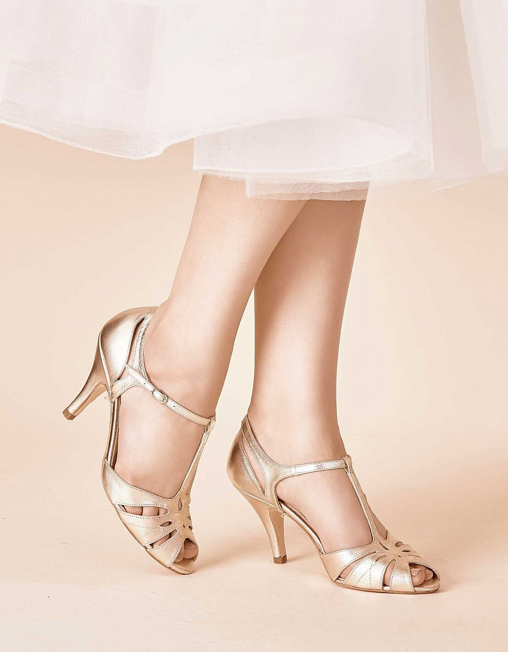 33cfac0dfa6 Ginger Gold 1920s Shoes As Featured In Vogue   Rachel Simpson Shoes ...