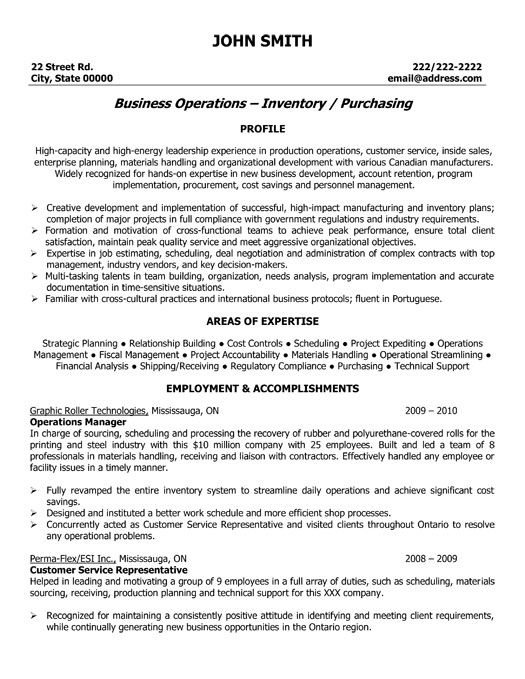 resume format for operation manager