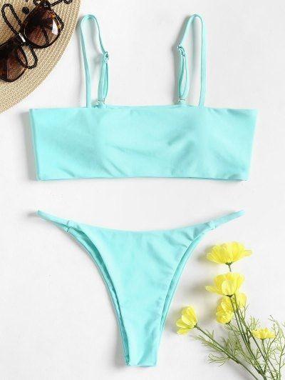 Padded Low Rise Thong Bikini Set