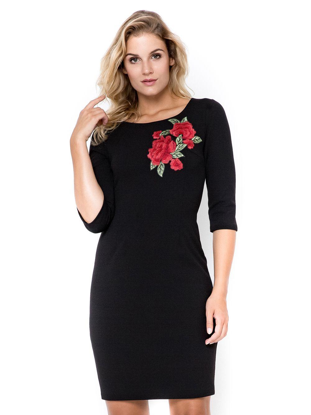Sukienka Plus Size 40 54 Sasha Xxl Z Haftem Kwiaty Czarna Dresses Fashion Cold Shoulder Dress