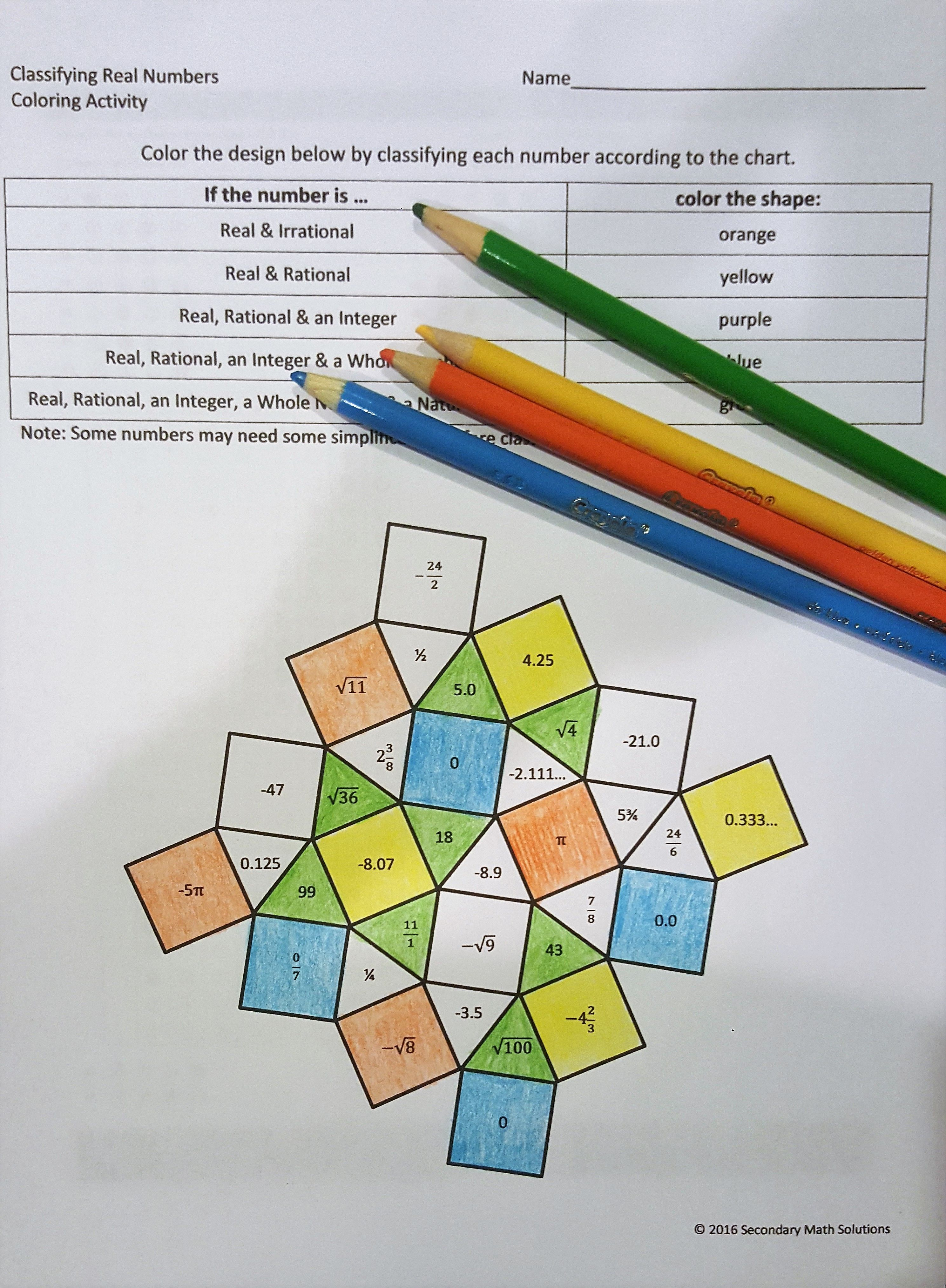 This is a one-sided practice page over classifying real numbers. The ...
