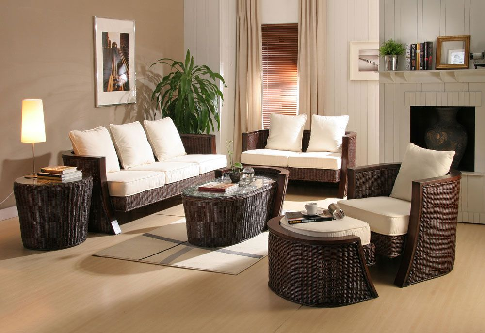 Modern interior decorating with synthetic wicker furniture Rattan