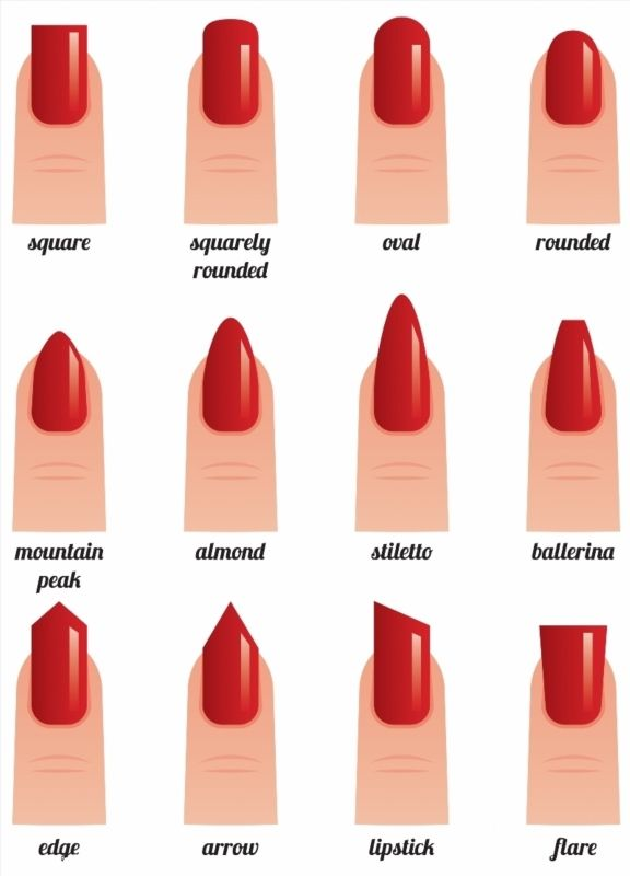 Stock vector illustration on a white background set of nails with nail polish painted red different forms poster #nailsshape
