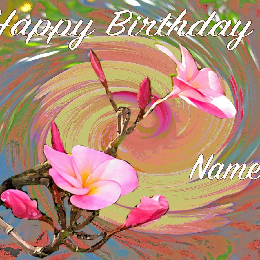 Personalized happy birthday greeting on joyful floral note card