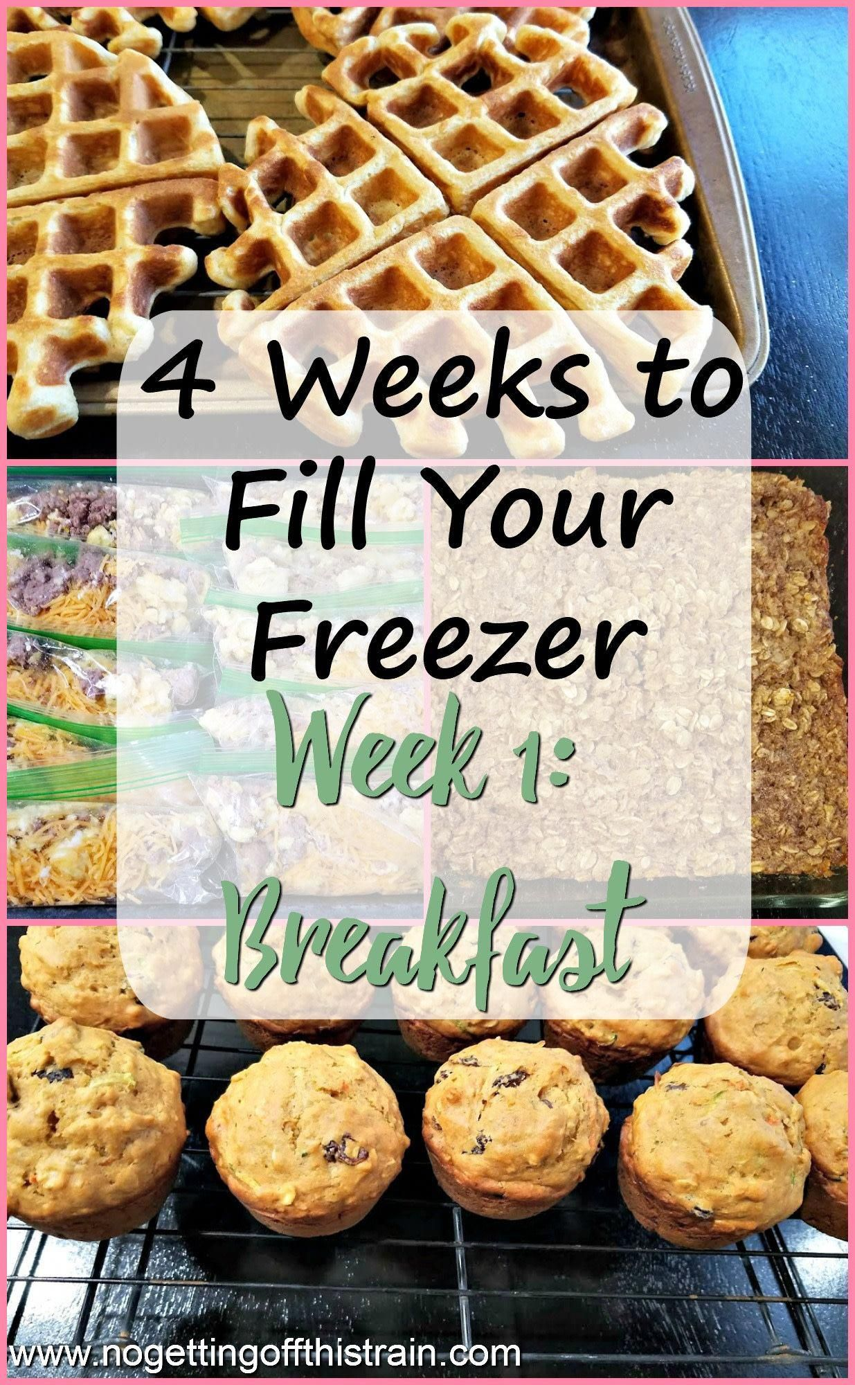 Have a freezer full of food in this 4 Weeks to Fill Your Freezer challenge! Week 1 contains breakfast recipes for stress-free mornings!