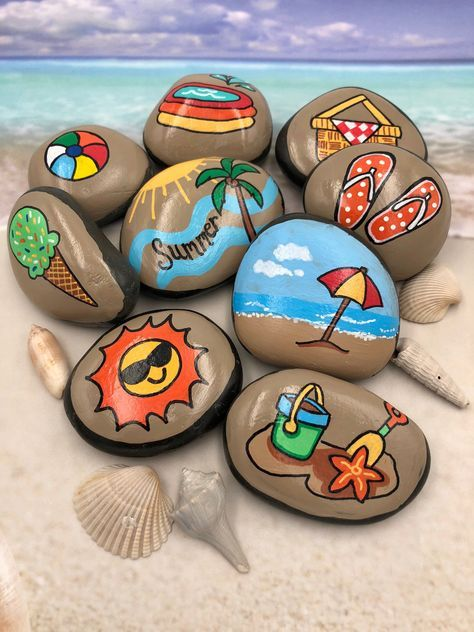 Summer Story Stones, Summertime Story Starters, Beach Time Painted Rocks, Story Rocks, Summer Story Prompts, Vacation Activity Stones #decorationengagement