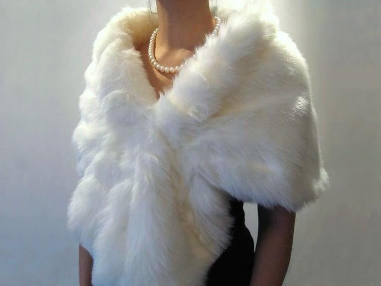 White Fur Stole >> White Faux Fur Wrap Faux Fur Stole Faux Fur Shawl Bridal Wrap